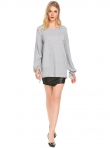 Grey O Neck Solid Loose Fit Lantern Sleeve Casual Top