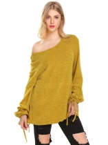 Amarelo O Neck Solid Loose Fit Lantern Sleeve Casual Top