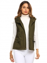 Army green Women Detachable Hooded Drawstring Waist Slim Fit Casual Military Vest