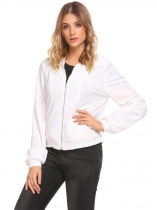 White Velvet Stand Collar Zip Up Solid Short Bomber Jacket with Pocket