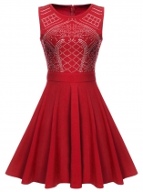 Red Women O-Neck Sleeveles Rhinestone Embellished Fit and Flare Swing Dress