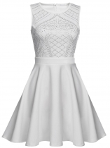 White Women O-Neck Sleeveles Rhinestone Embellished Fit and Flare Swing Dress