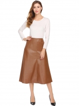 Brown Artificial Leather High Waist A-Line Pleated Split Hem Skirt