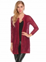 Wine red Women Casual O-Neck Long Sleeve Front Open Loose Lace Floral Cardigan Outwear