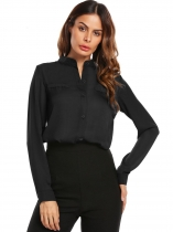 Black Women Stand Collar Long Sleeve Solid Casual Chiffon Shirts