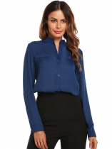 Blue Women Stand Collar Long Sleeve Solid Casual Chiffon Shirts
