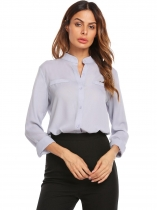 Gray Women Stand Collar Long Sleeve Solid Casual Chiffon Shirts