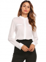 White Women Stand Collar Long Sleeve Solid Casual Chiffon Shirts