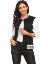 Black Women's Synthetic Leather Full Zip Slim Fit Casual Baseball Bomber Jacket