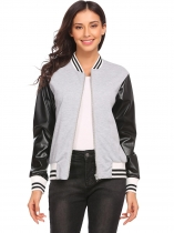 Gray Women's Synthetic Leather Full Zip Slim Fit Casual Baseball Bomber Jacket