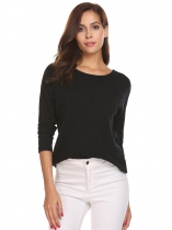 Black Women Knitwear Asymmetrical Hem Pullover Round Neck Long Sleeve Sweater