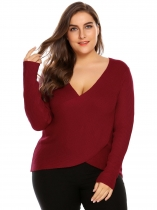 Red Women Plus Size Cross Front Plunging V-neck Long Sleeve Pullover Sweater