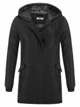 Black Solid Hooded Thickened Warm Winter Puffer Jacket Coat