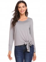 Grey Women O Neck Long Sleeve Lace Up Top