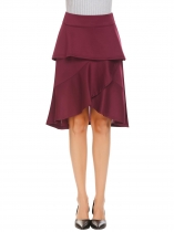 Wine red High Waist Ruffle Asymmetrical Hem A-Line Skirt