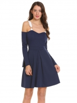 Royal Blue Spaghetti Straps Cold Shoulder A-Line Pleated Dress