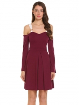 Wine red Spaghetti Straps Cold Shoulder A-Line Pleated Dress