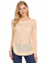 Khaki Women Round Neck Long Sleeve Back Lace-up Casual T-Shirt