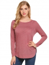Wine red Women Round Neck Long Sleeve Back Lace-up Casual T-Shirt