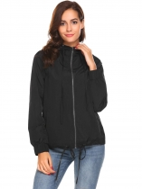 Black Women Lightweight Full Zip Drawstring Casual Waterproof Hooded Jacket