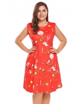 Red 1 Women Plus Size Christmas Xmas Printing sans manches Fit et Flare Party Cocktail Dress