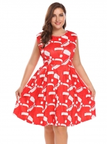 Red Women Plus Size Christmas Xmas Printing sans manches Fit et Flare Party Cocktail Dress