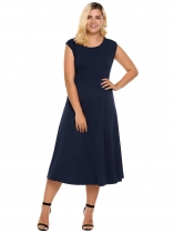 Dark blue Mujeres más tamaño Casual manga larga Sólido O Flare A Line Swing Dress
