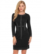 Black Women Fashion O-Neck Long Sleeve Rivet Bodycon Slim Pencil Dress