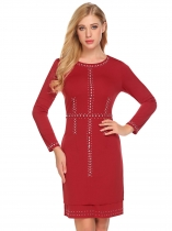 Red Femmes Fashion O cou manches longues Rivet moulante Slim Pencil Dress