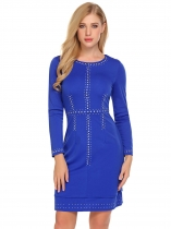 Royal Blue Women Fashion O-Neck Long Sleeve Rivet Bodycon Slim Pencil Dress