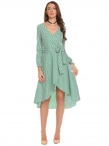 Green Women Wrap Split V Neck Long Sleeve Slim Waist Plaids Asymmetrical Pleated Dress