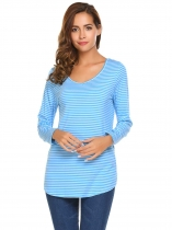 Blue Long Sleeve V Neck Striped Loose Pullover Casual Top