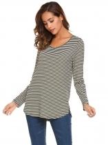 Black Apricot Long Sleeve V Neck Striped Loose Pullover Casual Top