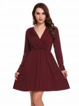 Wine red Robe manches longues manches longues manches longues et robes élastiques à manches longues