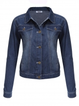 Azul Turn Down cuello manga larga Jeans Jacket Outwear
