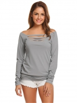 Gris Femmes Casual Collier carré Long Sleeve Front Hollow Out Solid Sexy Blouse T Shirt Tops