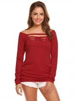 Red Women Casual Square Collar Long Sleeve Front Hollow Out Solid Sexy Blouse T-shirt Tops