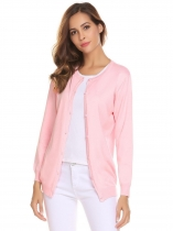 Light pink Women Casual O-Neck Long Sleeve Solid Button Knitted Warm Soft Cardigan Sweater