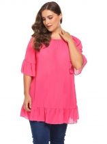 Rose red Women Off Shoulder Flare Sleeve Casual Loose Fit Long Blouse Tops Plus Size