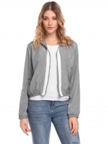 Grey Women Casual Stand Neck Long Sleeve Zipper Patchwork Lightweight Jacket