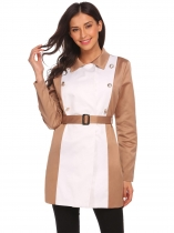 Khaki Mulheres Turn Down Collar Double-breasted Patchwork casual Trench Coat w / Belt