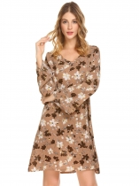 Brown Femmes Casual V Neck Flare manches longues Floral Imprimé Bohême Style Loose Dress
