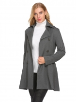 Grey Women Casual Turn Down Colloar Long Sleeve Slim Waist Trench Jacket