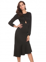 Black Women Casual O-Neck Elastic Cuff Long Sleeve Solid Ruffle Hem Hollow Out Sexy Dress