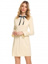 Apricot Women Casual Turn-down Collar Bow Tie Flare Sleeve A-Line Casual Dress
