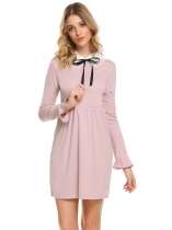 Red Women Casual Turn-down Collar Bow Tie Flare Sleeve A-Line Casual Dress