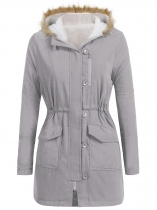 Light gray Women Artificial Fur Hooded Long Sleeve Thickened Winter Warm Coat