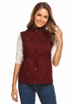 Wine red Women Stand Collar Button Down Drawstring Waist Casual Military Vest