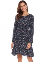 Blue Women O-Neck Long Sleeve Floral Print Casual Dress