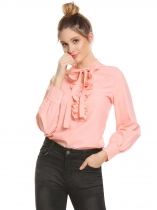 Misty Rose Mulheres Casual Lace Up Collar Lantern Sleeve Ruffle Solid Shirt Tops